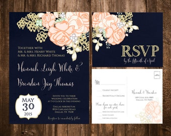 Navy & Coral Floral Wedding Invitations; Printable OR set of 25