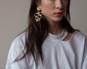 oversized drop earrings / large earrings / statement earrings / 1812a