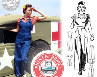 E-Pattern- Size A- WWII Homefront- 1940s Overalls, Playsuit, & Trousers- Sewing Pattern