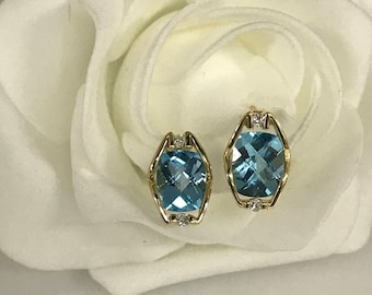 Blue Topaz Cushion Cut Earrings with Accent Diamonds 14K Yellow Gold #2959