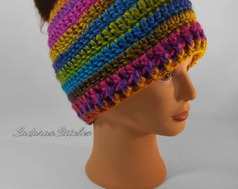 Messy Bun Hat, Bun Hat, Ponytail Hat, Pony Tail Hat, Crochet Hat, Crochet Bun Hat, Colorful Hat, Crochet Ponytail Hat, Messy Bun Beanie