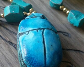 Large Turquoise Clay Scarab Pendant Necklace with Gold Tone Bead Accents 30 inches