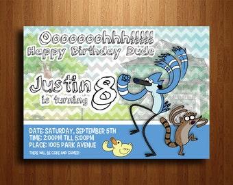 Regular Show Birthday Party Invitation - Digital Printable File