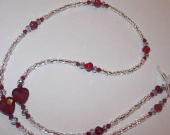 Red Heart Clear Silver Lined Seed Bead Eyeglass Chain Holder