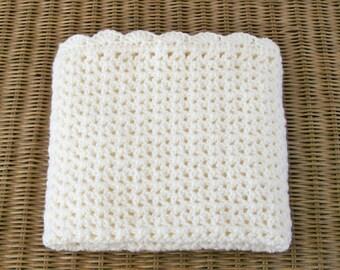 Crocheted Baby Blanket, Baby Boy Afghan, Baby Girl Afghan, Ivory Color Baby Blanket, Off White Afghan