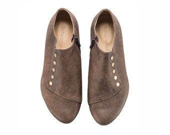 Brown leather flat shoes, Grace, chockolate brown