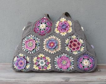 Kaleidoscope Hobo Bag Crocheted Flowers, Colorful Boho Purse
