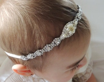 Rhinestone Baby Headbands, Vintage inspired  Baby Headband, Infant Headband, Toddler Headband, Girl Headband, baby baptism