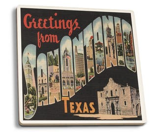 Greetings from San Antonio, Texas Vintage Halftone (Set of 4 Ceramic Coasters)