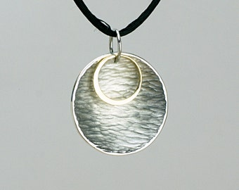 New Moon Rippled Reflections Pendant in Sterling Silver and 18k Gold