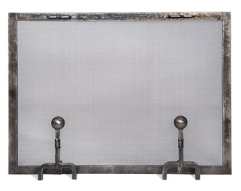 Hand forged fireplace screen with ball andiron feet, Rectangle