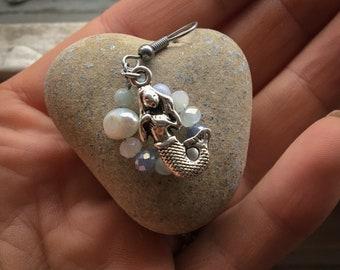 Bohemian Earrings, Mermaid Earrings, Silver Mermaid Earrings, Mermaids, Mermaid Charms, Mermaid Jewellery, Mermaid Jewelry, Ethereal, Old