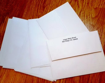 Set of 12 Envelopes, 4.25 Inch x 5.75 Inch, Either Blank or Customized with Return Addresses for Invitations