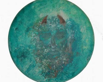 Greenman Painting - Round Canvas - acrylic