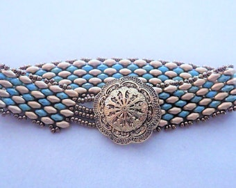Turquoise and gold superduo bracelet