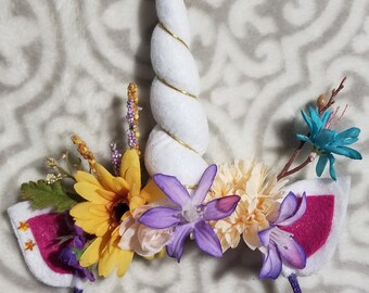 Unicorn Party - handmade floral unicorn headband