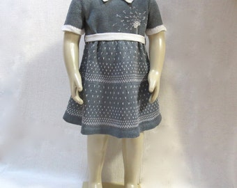 Knit Linen OOAK Dress for Toddler Girl with Peter Pan Collar - Jacquard Emroidery