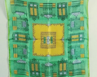 Vintage Japanese Silk Hand Rolled Scarf or Large Hanky, Bright Spring Green and Gold