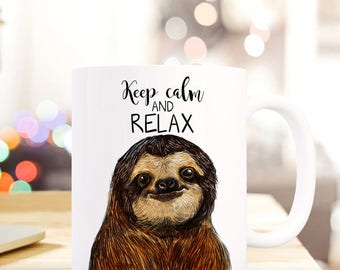 Gift coffee cup sloth keep calm and relax TS410