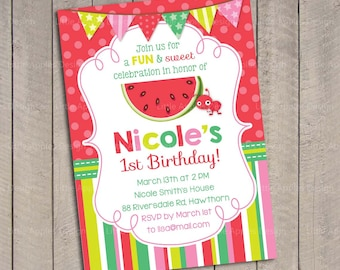 Watermelon Birthday Invitation Watermelon Invitation