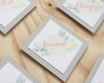 Personalized Soft floral Place Card | Spring Floral | watercolor | light pink, green, & yellow | Easter brunch place card