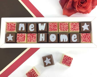 Happy New Home - chocolate gift for new house - housewarming gift - new home message - moving home gift - chocolate box gift
