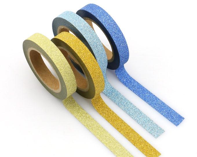 Skinny Glitter Washi - Blue Glitter washi Tape -  Glitter Washi Tape - Paper Tape - Planner Washi Tape - Washi - Gold Glitter Washi