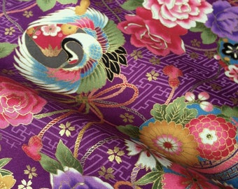 Japanese fabric, crane, vioet background, cotton 110 x 50 (230A)