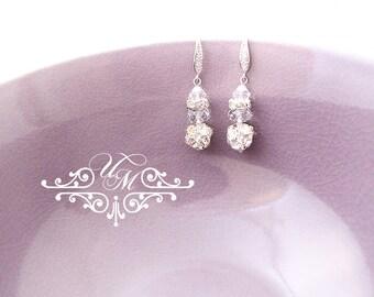 Wedding Jewelry Wedding Earrings Bridal Earrings Bridesmaid Earrings Dangle Earrings Rhinestone Earrings Zircon earwires