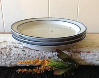 3 Dansk Blue Mist Side, Salad Plates, Set Of 3, Vintage Mid Century Niels Refsgaard Danish Modern Small Stoneware Plates, Blue Rims