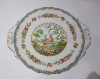 Royal Albert Chelsea Bird Blue Handled Cake Plate