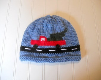 Time to Get the Tree Hat - Christmas Winter Knit Hat with Red Truck