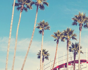 Summer Boardwalk Retro Rollercoaster Photo Print, Palm Trees, Teal Blue Sky, Red White Roller Coaster - Feels Like Summer