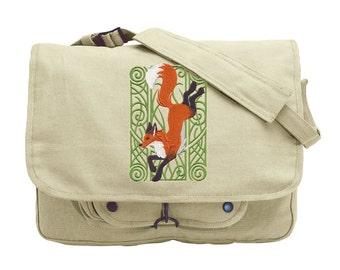 Fox Nouveau Embroidered Canvas Messenger Bag