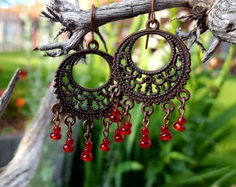 Red Chandelier Earrings, Dangle Earrings, Copper Chandelier Earrings, Gypsy Earrings
