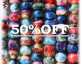 Destash lampwork boro beads (16) SALE 50% off, borosilicate glass beads, Sale Beads, Mixed Lot, Destash Bead Mix, Assorted Lot, soap, D6 SRA