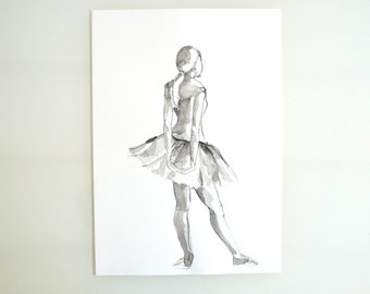 Original ballerina pencil drawing on paper- Edgar Degas inspiration drawing, pose dancer, dance art, ballet, original art by Cristina Ripper