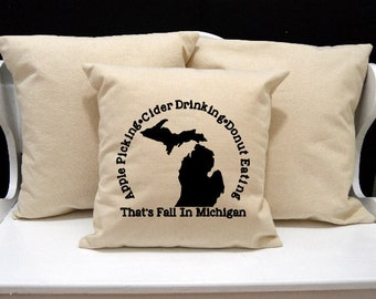 Apple Cider Donuts, Michigan Fall, Michigan Pillow, Home Decor, Decorative PIllow, Throw Pillow, Home Pillow, State Pillow, Pillow