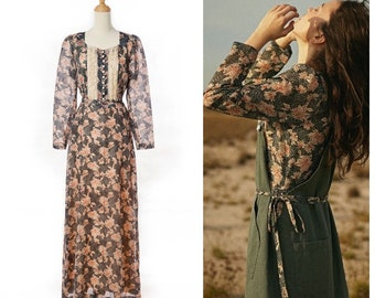 Early 1970s Earthy Floral Polyester Chiffon Prairie Dress by Gejlin Danish Design