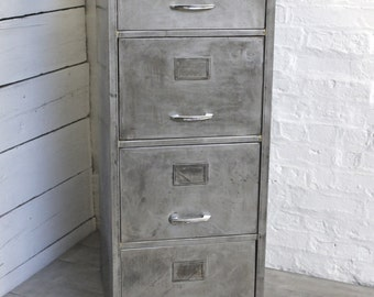 Grove Reclaimed Vintage Urban Industrial Withy Grove Stores 1970s Stripped Steel 4 Drawer Filing Cabinet - Reclaimed Industrial Furniture