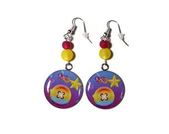 Earrings cabochon button/star color gradient purple-pink-yellow/Pearl polaris/gift