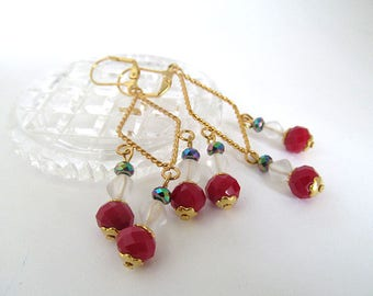 Red White Blue Earrings, Gold Chandelier Earrings, Glass Bead Earrings, Patriotic Jewelry, Dangle Earrings, Nautical Jewelry