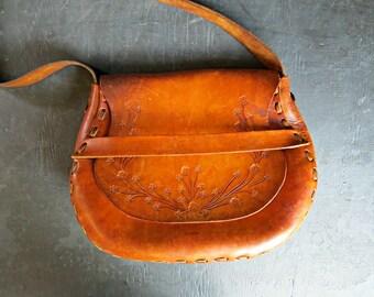1970's Leather Hippie Bag. Handmade Boho Distressed Shoulder Bag. 70's Tooled Floral Bag. | Curious Moose Vintage
