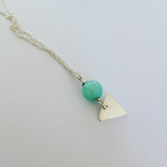 Aquamarine Hammered Sterling Silver Necklace - Chakras - Healing - Boho - Bohemian - Triangle - Geometric