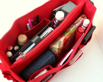 Purse organizer for Speedy 40- Bag organizer insert 15W x 7HX 7D in Rich Red