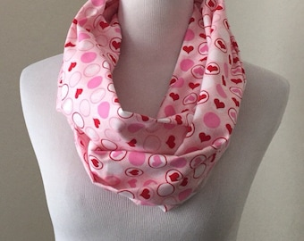 Valentines Day Scarf- pink hearts- SHIPS NEXT DAY