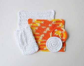 Washcloths Soap Saver Face Scrubbies Cotton Dishcloths Spa Set Mothers Day Gift Fathers Birthday Present Ready To Ship