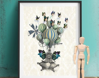 Steampunk Buttterfly Print - Flutter Time  - Steampunk Print Butterfly art butterfly décor Butterfly picture Butterfly wall décor poster