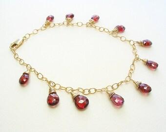 Garnet Gemstone Bracelet, Garnet Gold Bracelet, Garnet Charm Bracelet, Adjustable Bracelet, Garnet Jewelry, Garnet Dangle, Red Gemstone