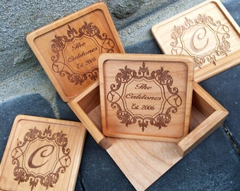 Personalized Gifts/Coasters/Custom Wood Coaster Set/House Warming Gift/Anniversary Gift/Wedding Gift/ Engraved Coaster Set